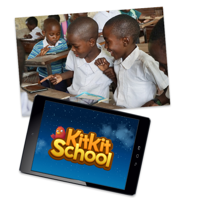 kids in class and a tablet